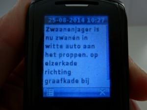 2014-08-25 Anoniem smsbericht op 25 aug. 2015 om 10.27 uur van zwanendrifter cq rattenvanger t.a.v. Saskia Van Rooy